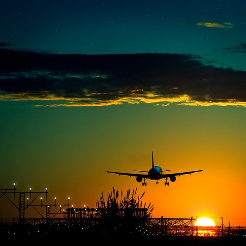 Airliner in the sunset